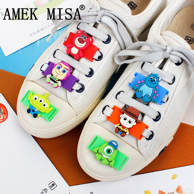 Novelty Cartoon Toy Story Shoe Decorations Casual/sports Shoe Shoelace Charms 6pcs/set Shoes Accessories Fit Children Gifts M433 Shoe Decorations
