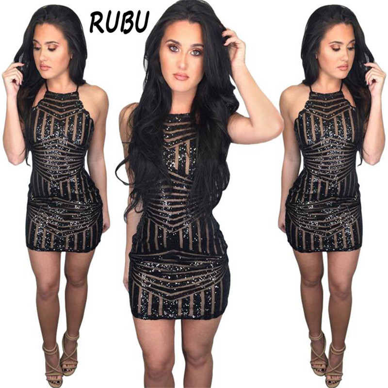 Summer Sexy Sequins dress Women Tight Pencil Dress Black Striped Perspective Sleeveless Dress Shiny Night Club Party 5AD28