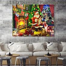 HUACAN-mosaico de diamantes de pintura con diamantes de Navidad con luz LED, bordado de diamantes de Santa Claus, taladro redondo con Marco, 40x50cm