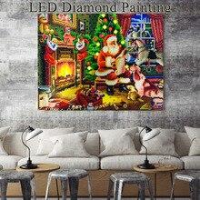 HUACAN obrazy z kamyczków z motywem świątecznym LED Light diamentowa mozaika święty mikołaj diamentowe hafty okrągłe wiertło z ramą 40x50cm