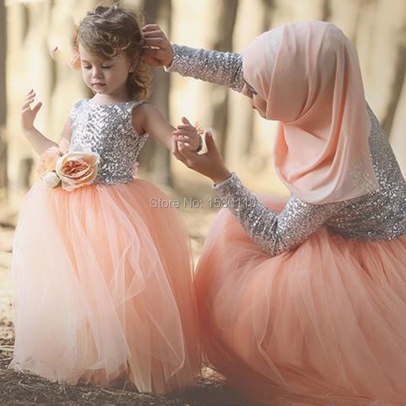 Mother Daughter Gowns Long Sleeve Muslim Dress for Wedding Party Islamic Dresses with font b Hijab
