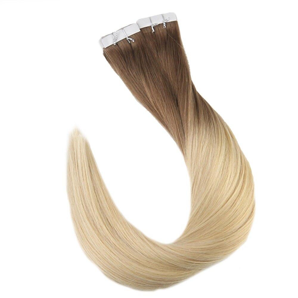 Plein Éclat 40 pcs Par Paquet Ombre Balayage Vente Chaude Couleur #6 La Décoloration à #613 Blonde Réel Humains extension de cheveux Remy Ruban dans les Cheveux