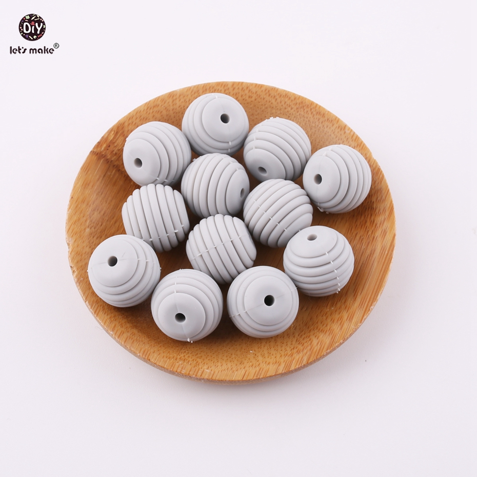 Lets Make DIY Beads 5pcs 15mm Light Gray Round Spiral Beads Making Nursing Jewelry Accessories Beads BPA Free Baby Teether