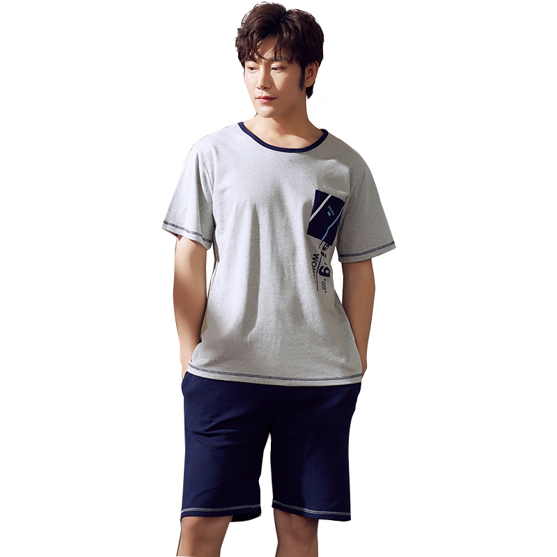 Summer Gray Pajamas Men 2019 New Fashion Mens Sleepwear Short Sleeves Shorts Casual Set Solid Top Sleep Suit Men L-XXL