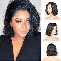 Полный шнурок человеческих волос Короткие парики предварительно выщипать вьющиеся боб парики естественная волна вол