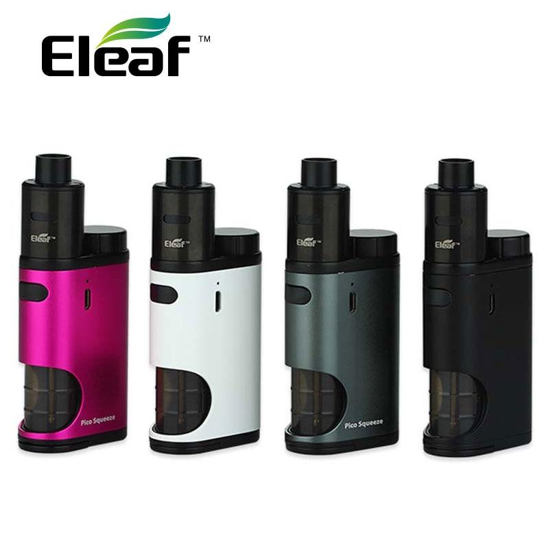 Eleaf pico squeeze con coral e-cig kit 50 W pico squeeze Box mod y coral RDA atomizador ajustable flujo de aire rebuildable y reutilizable