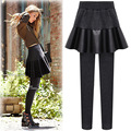 Hot Sale Women's Slim PU Ruffles Stitching Skirt Leggings 2016 Autumn New Solid Color Thickening Skirt Leggings AXD2001