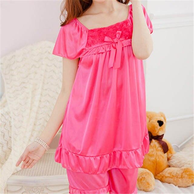 2Pcs Womens Nightdress Casual Sleepwear Shirts + Shorts Pants Bowknot Pajama e4144bc27