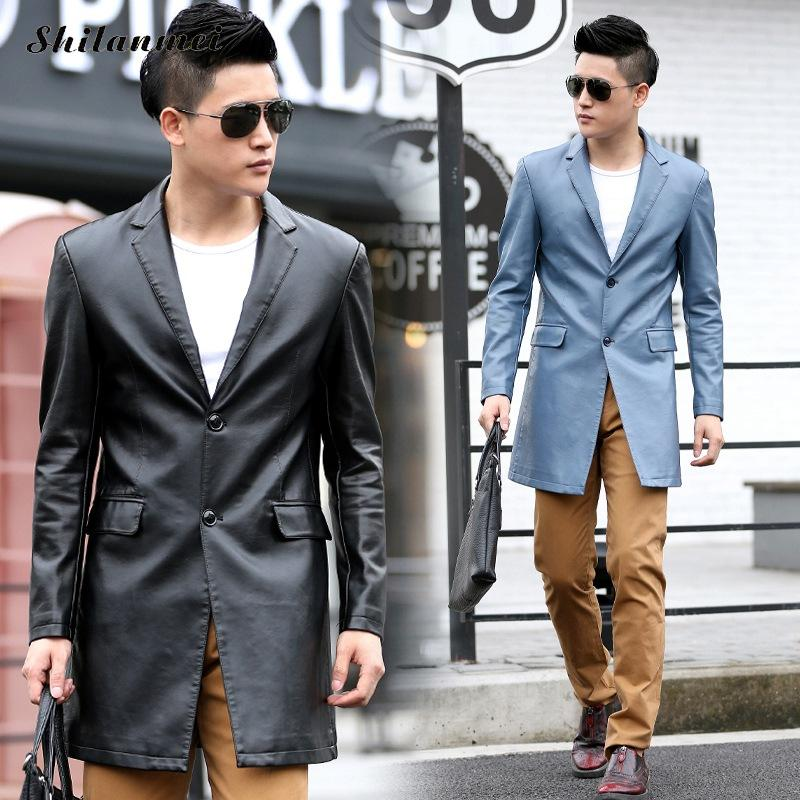2018 Spring New Fashion Style Bomber Leather Jacket Real Men Classic Winter Male Leather Coat Black