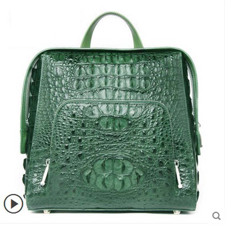 2018 ouluoer New real crocodile skin Double shoulder women backpack crocodile leather travel bag business casual men bag yuanyu new 2017 real python skin snake skin women backpack two shoulder bag big capacity serpentine