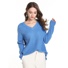 women sweater Plus size V-neck pullover  women's long sleeve loose womens sweater for Autumn Winter Warm Clothes Solid Color