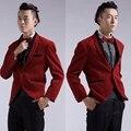 100% real del brillo rojo de vino/rojo púrpura chaqueta de esmoquin/evento/etapa/club/cantar/danza chaqueta blazers/esto es sólo la chaqueta