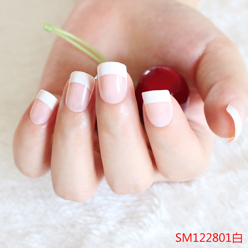 24 Pcs Classical French Fake Nails Toe Nails Tips White Color French ...