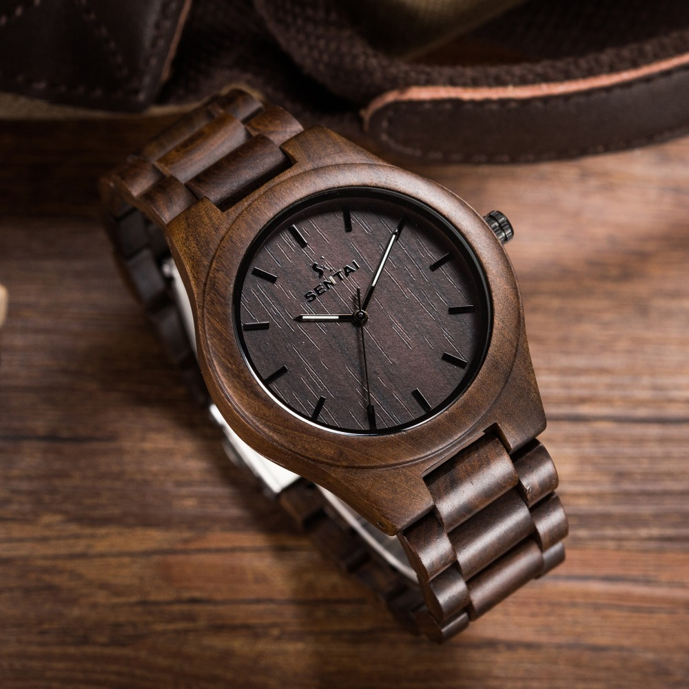 Casual Quartz Watch Men Wood Watches Fashion Men's Top Brand Design Vintage Dial Watch with Full Natural Wooden Casual watches hand made natural wood mens quartz watch wooden watchband bracelet clasp simple design dial high quality male watches gift