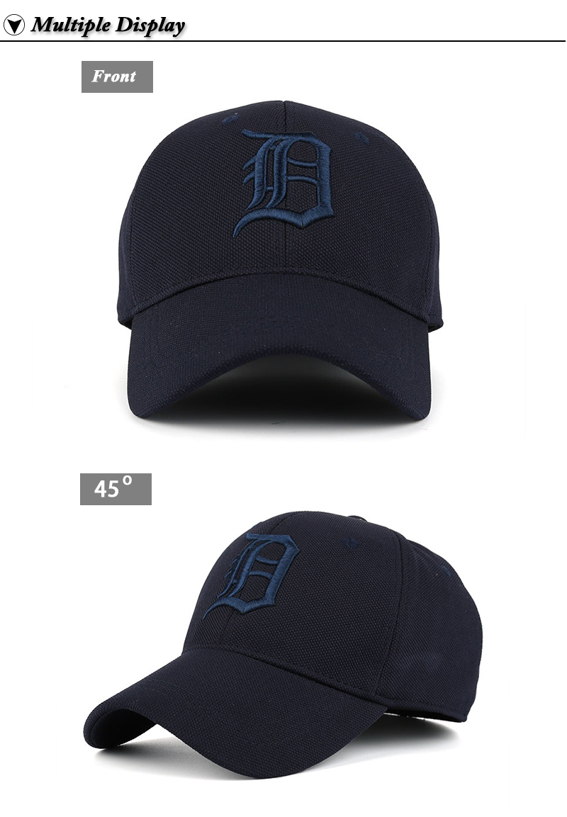 Embroidered Letter D and Baseball Fitted Baseball Cap - Front Angle and Front View Details
