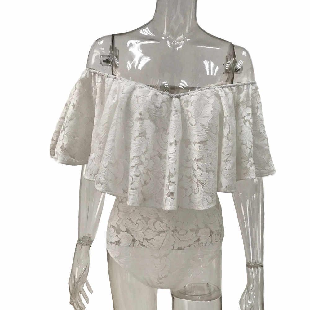 Mulheres sexy fora do ombro renda macacão senhoras plissado frill bodysuit base macacão cor sólida estiramento festa collant top # lr3