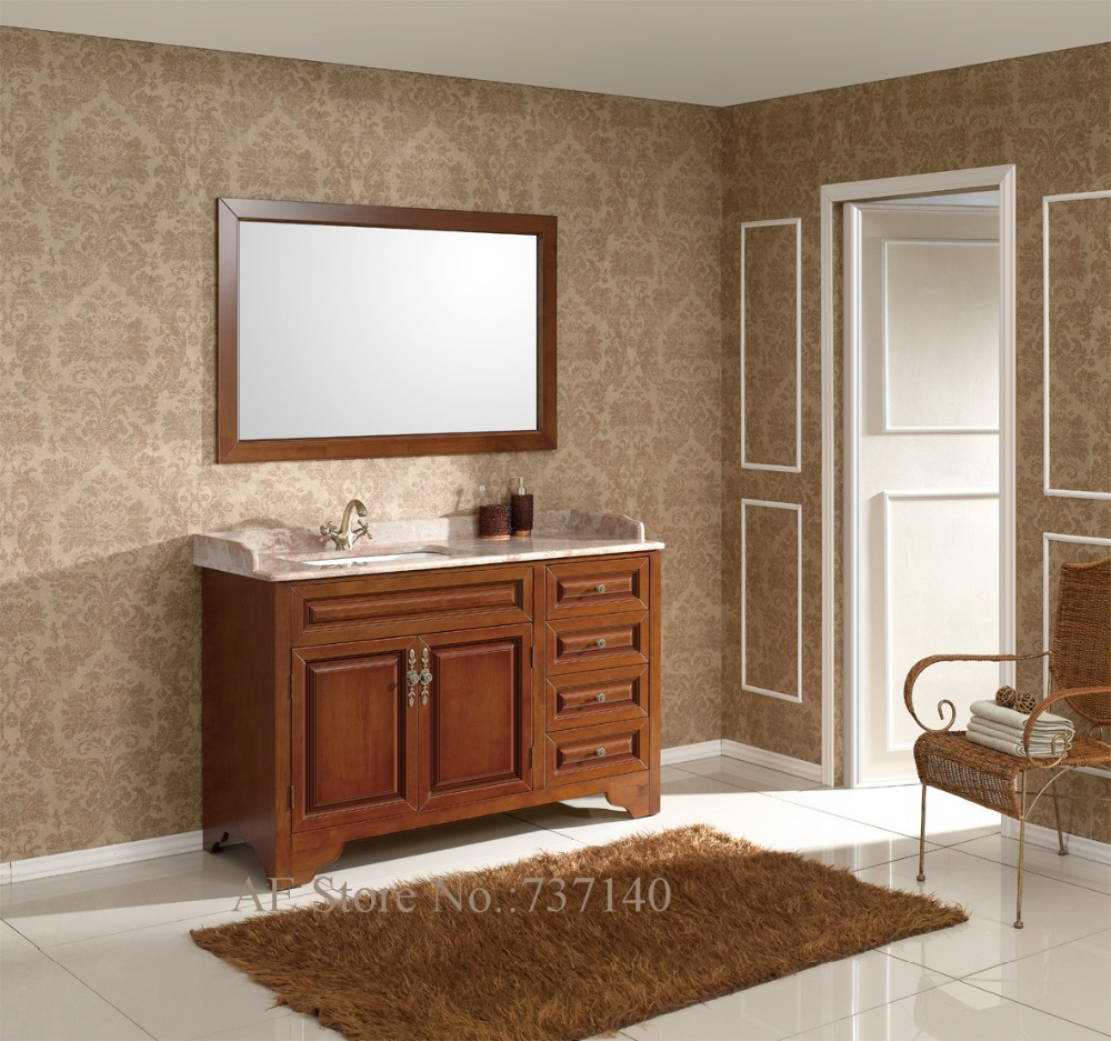 Bathroom cabinet with mirror solid wood bathroom furniture with marble benchtop and ceramic Wooden bathroom furniture cabinets