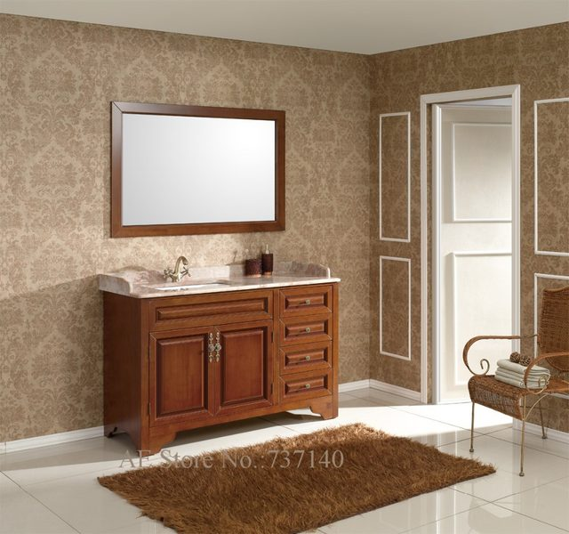 Bathroom Cabinet With Mirror Solid Wood Furniture Marble Benchtop And Ceramic Basin Ing Agent Whole Price
