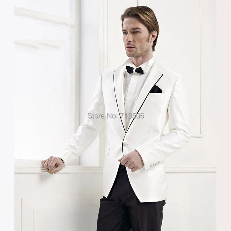 Newest Arrival Handsome White Tuxedos Jacket Black Lapel Ivory ...