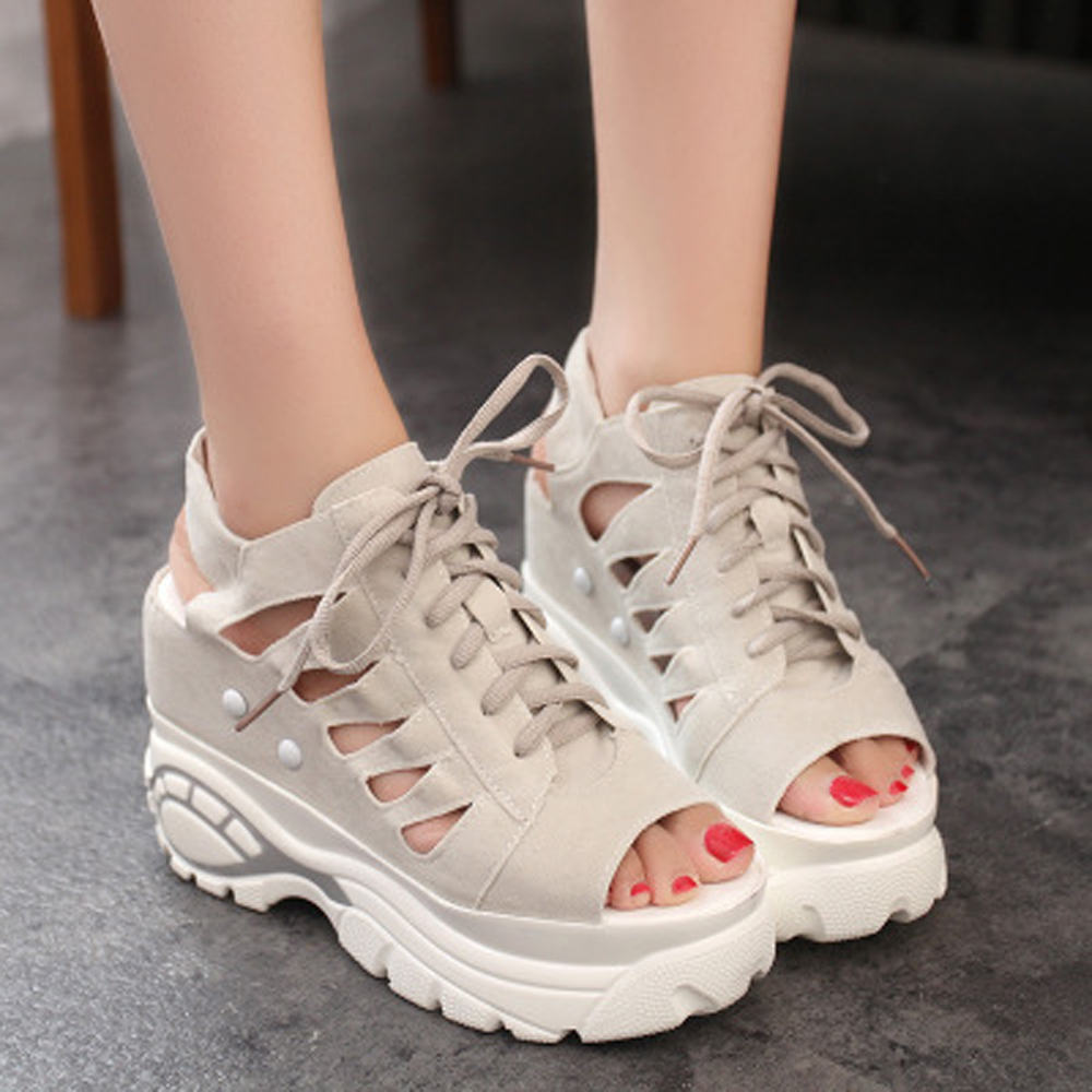Womens Sandals Raised Shoes PU suede fish mouth high wedge heel Casual Water-proof Platform Summer Air-permeable more 18 cmWomens Sandals Raised Shoes PU suede fish mouth high wedge heel Casual Water-proof Platform Summer Air-permeable more 18 cm