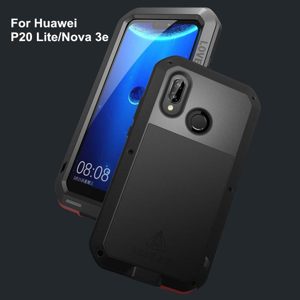LOVE MEI Puissant En Métal Étanche étui pour huawei P20 Lite/Nova 3e Complet Couverture Arrière En Aluminium Antichoc Defender coque de téléphone
