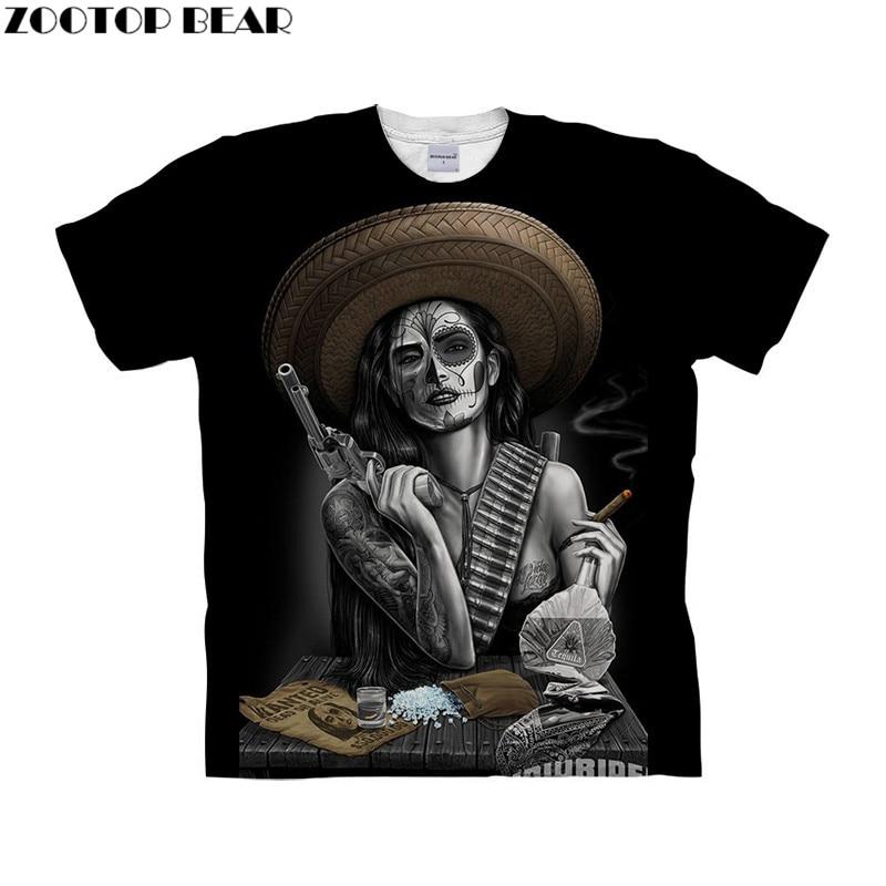 Funny tshirt 3d t shirt Mens t-shirt Girly Skull Top Tee Short Sleeve Tee Fashion Camiseta Black Tshirt Drop Ship ZOOTOP BEAR