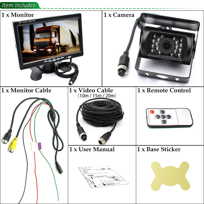 "Bus Truck RV Vehicle IR LED Rearview Backup Reverse Camera Weatherproof+ Remote Control 7"" LCD Color TFT Monitor 800*480 5"