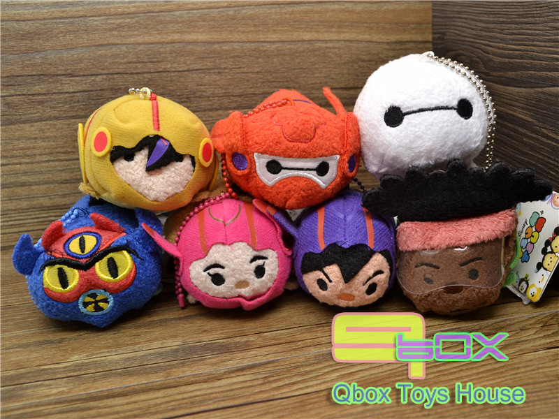 7Pce/Set NEW Tsum Big Hero/Red Armor Baymax Hiro Gogo Honey Wasabi Fred Mini Plush Doll hero 6 - Qbox Toys House store