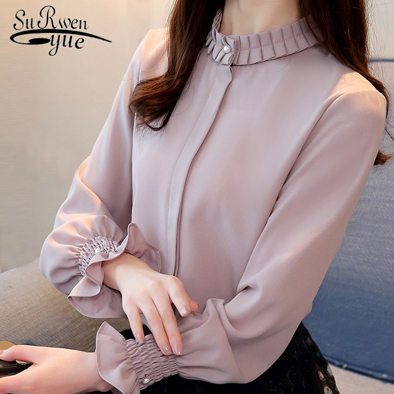 Fashion Woman   Blouses   2019 Chiffon   Blouse     Shirt   Long Sleeve Solid Stnad Collar OL   Blouse   Women Tops Blusa Feminina   Shirt   1016 40