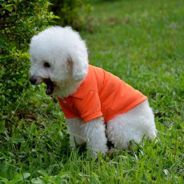 Pet Clothes Dog Solid color Polo Shirt Apparel Lapel Costume Dog Clothes T-shirt Casual Puppy Suit Cotton Clothes Cozy Shirt 3