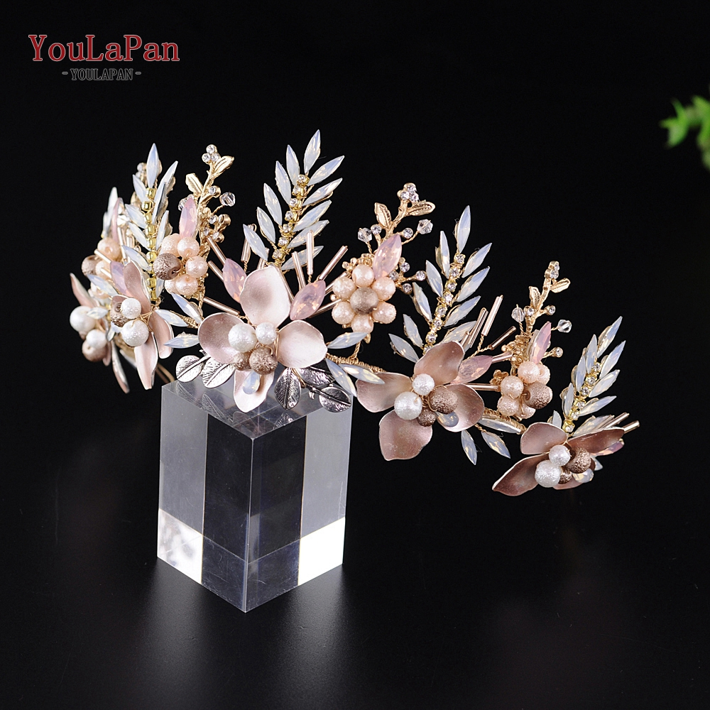 YouLaPan HP225-G Wedding Flower Headband Luxury Bridal Crown Floral Wedding Hair Vine Party Prom Hair Jewelry Bridal Accessories