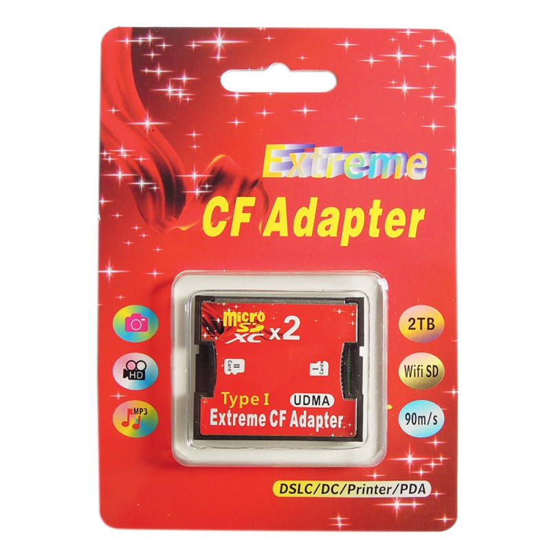 New Red Single Dual Slot Micro SD SDHC SDXC TF To CF Adapter MicroSD To Extreme Compact Flash Type I Card Converter