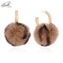 Badu Vintage Artificial Ball Stud Earring for Women Winter Style Leopard Golden Earrings Christmas Jewelry Wholesale