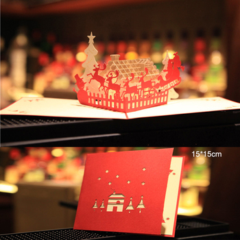 Free shipping 15pcs Wholesale Creative Laser Cut Christmas hut deer Postcard blessing Gift Invitations Greeting Card