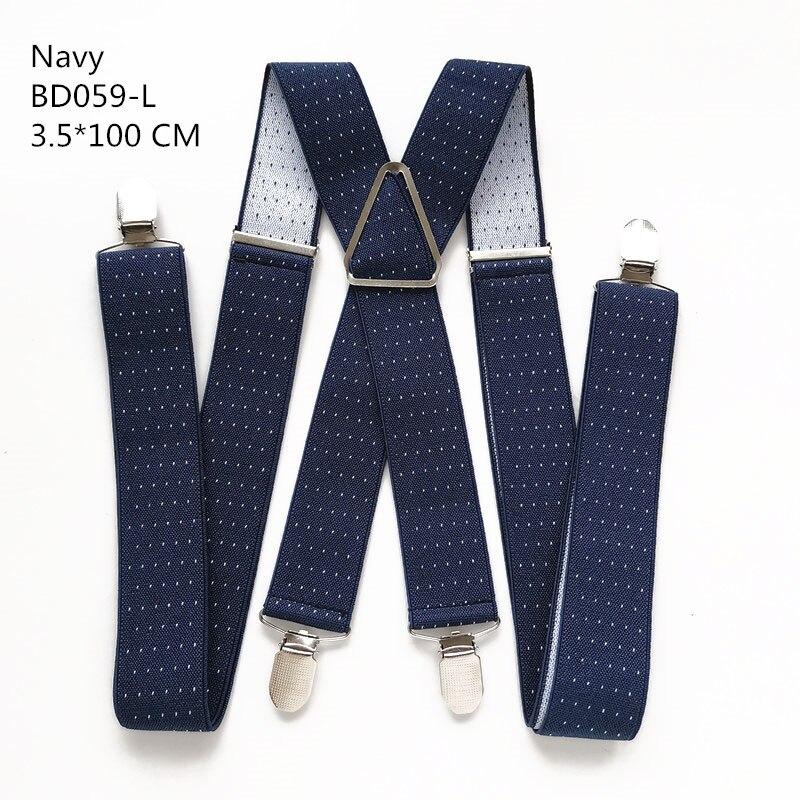 Одноцветные подтяжки унисекс для взрослых, мужские XXL, большие размеры, 3,5 см, ширина, регулируемые эластичные, 4 зажима X сзади, женские брюки, подтяжки, BD054 - Цвет: Dot navy-100cm