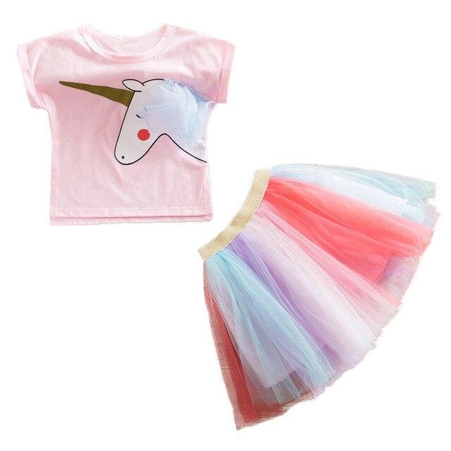 Thời trang Trẻ Em Bộ Bé Gái Quần Áo Lạ Mắt Rainbow tutu Áo + Kỳ Lân In Hình 2 chiếc Lễ Phục Sinh năm 2019 Bé Gái Mùa Hè trang phục