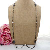 GE082002 38 White Keshi Pearl Hamsa Hand Evil Eye Cz Pave Long Chain Necklace