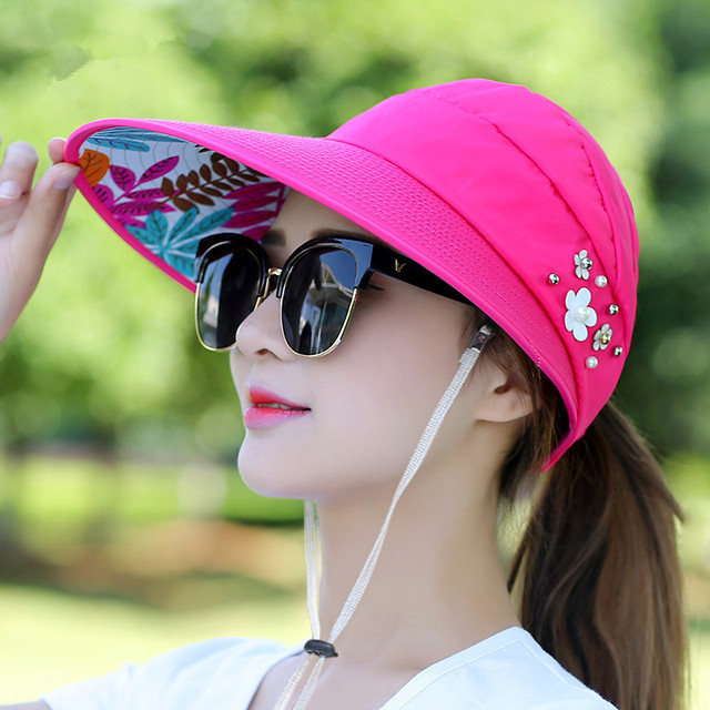 2018 New simple women summer beach Sun Hats pearl packable sun visor hat with big heads wide brim UV protection female cap 3
