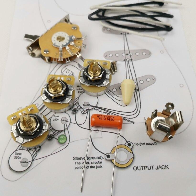 Guitar Potentiometer CTS 250K Copper shaft Wiring Kit for Strat CDE 715P 047 200V Orange Drop