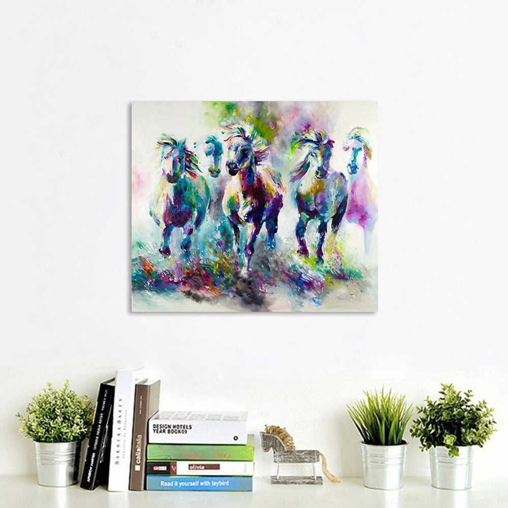AAVV Wall Art Poster Large Size Five Running Horses Paintings Home Decorative Wall Art Picture for Living Room Painting No Frame