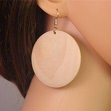 1 пара(2 шт.) необработанные деревянные круглые 55 мм деревянные висячие серьги DIY ювелирные изделия для женщин E713