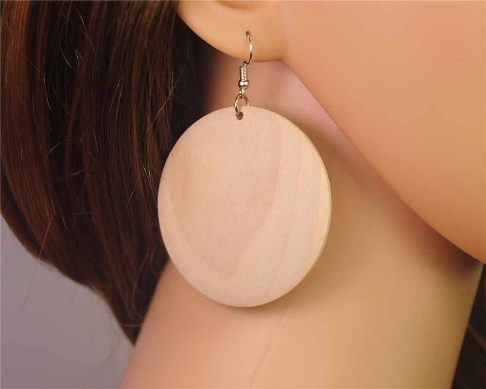 1pair(2pcs) Unfinished Wooden Round 55mm Wood Dangle Drop Earrings DIY Jewelry for Women E713