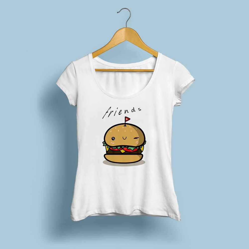 e8ed4aa54c5 ... BFF Hamburger chips cola best friends 3 forever t shirt women  jollypeach summer new white Tshirt ...