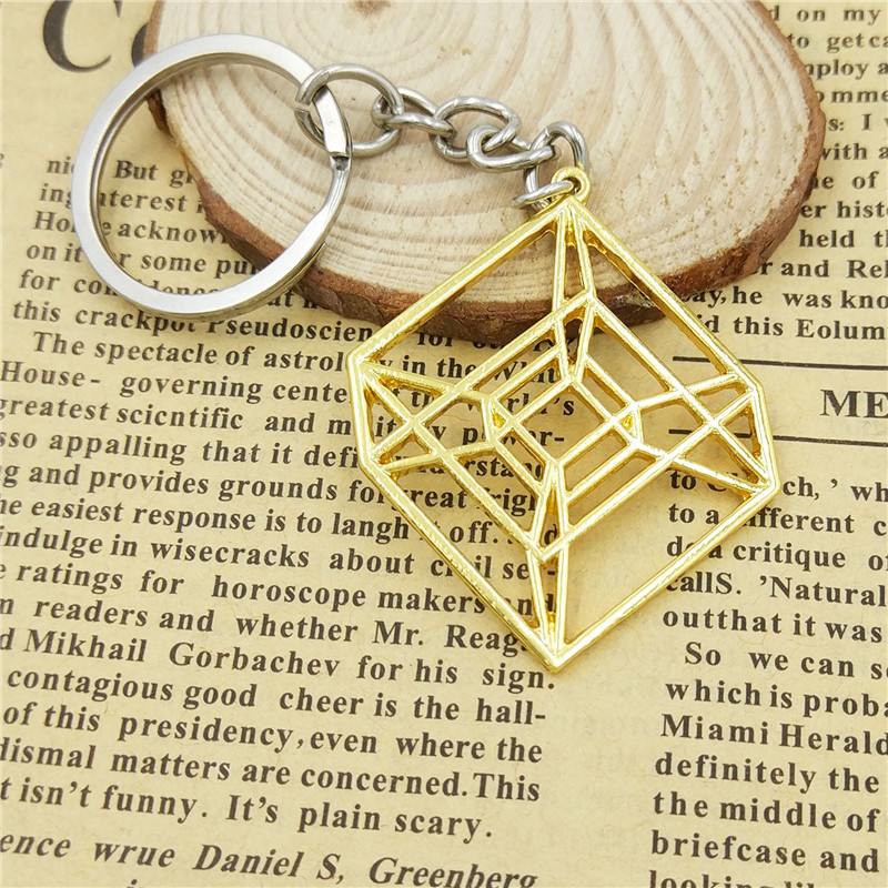 Dropship fashion Hypercube Sacred key chain women bag car Key ring  Geometric pendant 4D cube jewelery gifts gold silver color-in Key Chains  from Jewelry ... 50af708d3a