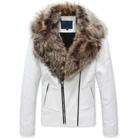 HOT!new arrival 2017 hight quality s02 winter large fur collar luxury zipper PU men leather jacket black & white