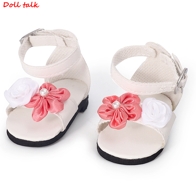 Doll Sandals Lace-up Leggings High Sandals Shoes For 18 Inches Dolls Pink FLower Shoes For Blyth BJD Doll New Best Girls Gift