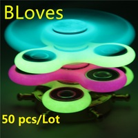 50 Pcs Lot Glow In Dark Noctilucent Hand Spinner Tri Spinner Fidget Plastic Wheel Puzzle For