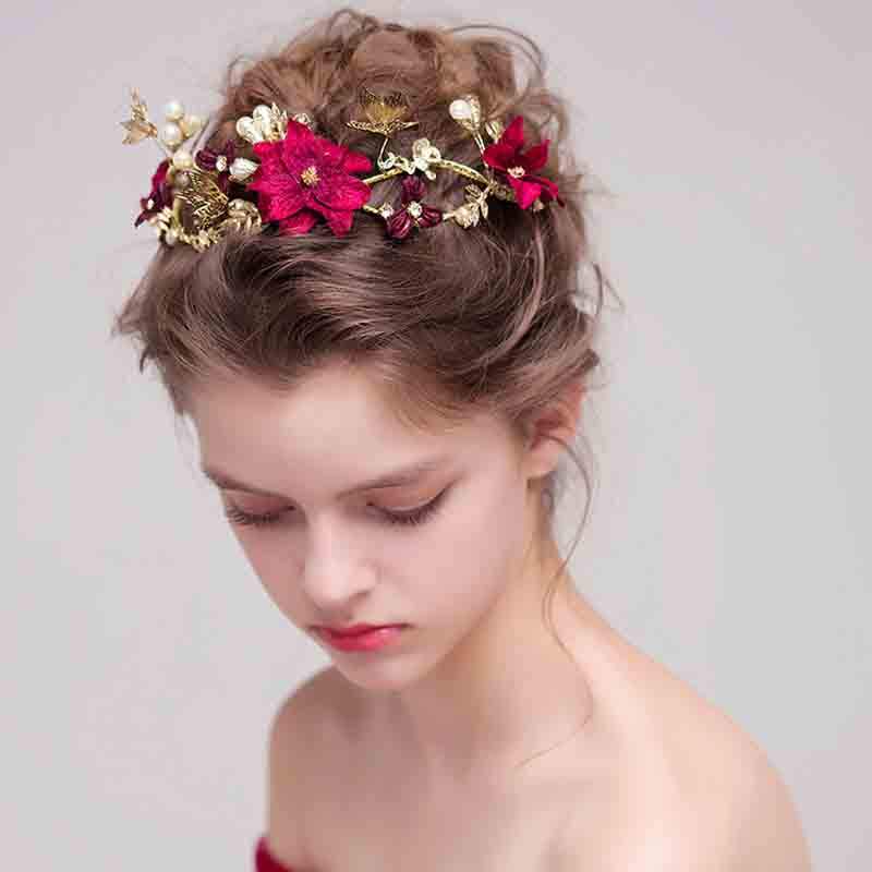 Bridal Headpieces Wedding Headband Red Color Simulated Pearl Flower Princess Hair Vine Headdress Pearls Wedding Hair Accessories lavender flower headband princess bridal wedding hairpieces girls prom hair accessory headdress gold color hair jewelry handmade