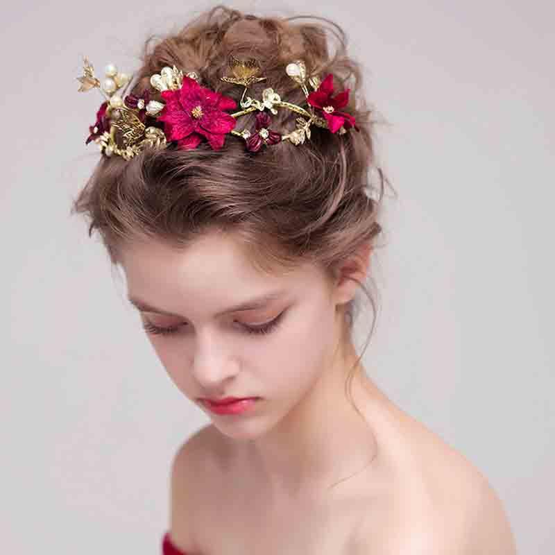 Bridal Headpieces Wedding Headband Red Color Simulated