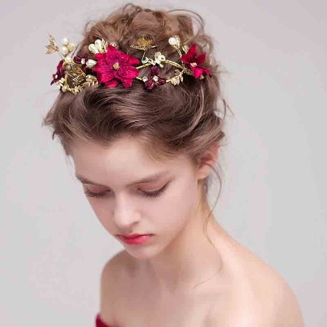 Bridal Headpieces Wedding Headband Red Color Simulated Pearl Flower Princess Hair Vine Headdress Pearls